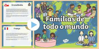Famílias de todo o mundo, PowerPoint - familia, lacos familiares, arvore genealogica, genes, genetica, adocao, adotivo, vocabulario, amigos