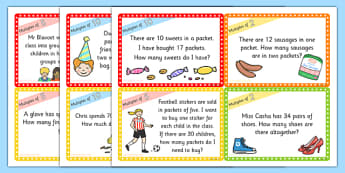Multiples of 2-5 and 10 Word Problem Challenge Cards - maths