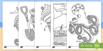 Beach Themed Coloring Activity Sheets - beach, water, color, coloring, activity sheets, ocean, sea, worksheets