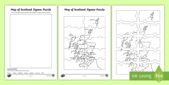 Map of Scotland Jigsaw Puzzle  - Scottish Cities, geography, Glasgow, Stirling, Edinburgh, Dundee, Aberdeen, Inverness, Perth,Scottis