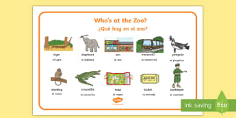 Who´s at the Zoo Word Mat English/Spanish  - exploring my world, story, zoo, literacy, oral language, reading, animals, EAL