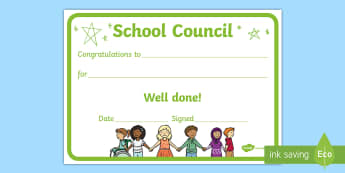Editable School Council Award Certificate - representatives, members, vote, Congratulations, well done,