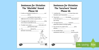 Northern Ireland Linguistic Phonics Stage 5 and 6, Phase 4b 'ibel/able' and 'ture/sure' Dictation Sentences Activity Sheets  - NI, Worksheets, missing word, cloze, words, 'ible', 'ture', word endings, phonics