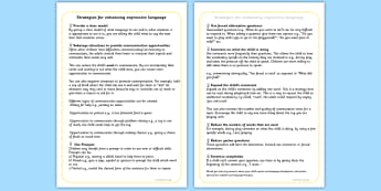 Strategies For Supporting Expressing Language Talking - SEN, talk