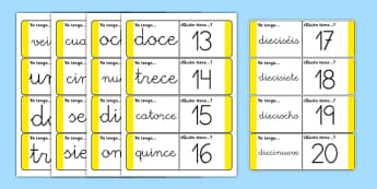 Tarjetas de buscar y emparejar Números de 1 a 20 - números