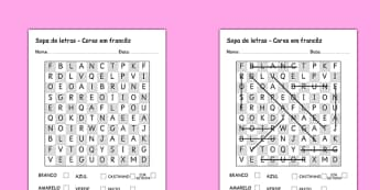 Sopa de letras - Cores Portuguese Translation - portuguese, colours, word search, wordsearch