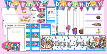Birthday Role Play Pack - Birthdays, gift tag, name label, food list, invitation, banner, word card,  birthdays, party food, cake, balloons, happy birthday, birthday role play