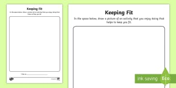 Keeping Fit Activity Sheet - Junior and Senior Infant  PlanningSubject Planning, keeping fit, exercise, healthy, worksheet, Irish