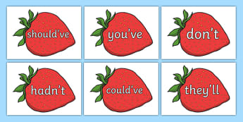 Common Contractions on Strawberries - common contractions, strawberries, common, contractions