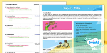 PlanIt PE Year 4 Dance: Water Planning Overview - Dance: Water, PE, physical education, exercise, Y4, year 4, LKS2, key stage 2, planning, plans, powe