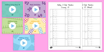 Adding Two Digit Numbers and Ones Crossing 10 Activity Pack - New Zealand, maths, adding, addition, numbers to 100, teaching pack, Year 3, age 7, age 8, age 9, br