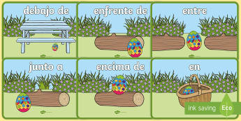 Easter Egg Positional Language Display Posters - Spanish - Spring, KS2, Spanish, MFL,easter, egg, positional, language, prepositions, display, posters  ,Spanis