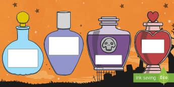 Arwyddion a Labeli Poteli Hyd Golygadwy - Haloween, labels, potion, bottles, calan, gaeaf, poteli, hyd, labeli, arwyddion,Welsh
