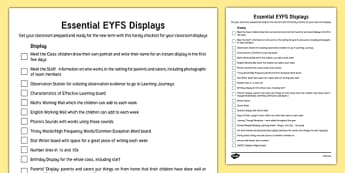 Essential EYFS Displays Checklist