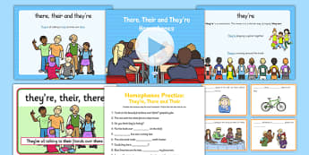 There, Their and They're Homophones Resource Pack - homophones, there, their, they're