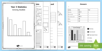 Year 3 Statistics Learning from Home Maths Activity Booklet - plotting data, Interpret and present data using bar charts, pictograms and tables, pictograms, bar c
