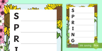 Spring Acrostic Poem - Poems, spring, letters, sun, seasons, literacy, special Education,Australia