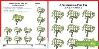 Partridge In A Pear Tree Activity Sheet English/Mandarin Chinese - Christmas Maths, partridge, pear tree, Twelve Days of Christmas, maths,worksheet, EAL