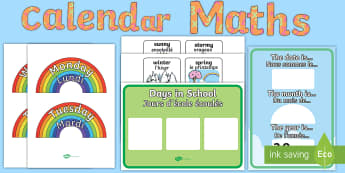 Ready Made Calendar Maths Display Pack English/French - maths, calendar, create, ks1, primary, months, days, weather, display, , matsh, EAL French,French-tr