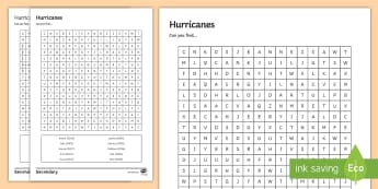 Hurricane Word Search Activity Sheet - hurricane names, current events, deadly weather, starter, extension, worksheet