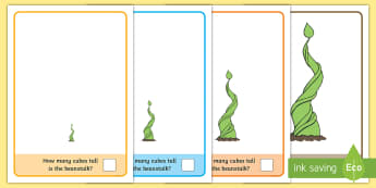 Beanstalk Measuring with Cubes Activity Mat - EYFS, Early Years, KS1, Key Stage 1, sunflower, spring time, Maths, size, height, measure, measureme