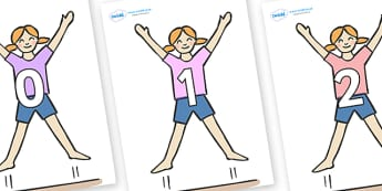 Numbers 0-31 on Star Jumps - 0-31, foundation stage numeracy, Number recognition, Number flashcards, counting, number frieze, Display numbers, number posters