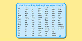 New Curriculum Spelling Lists Years 1 and 2 - new curriculum, spelling list, year 1, year 2, word mat