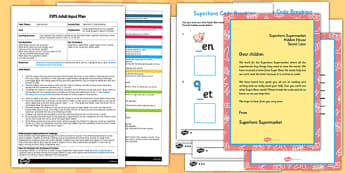 Superhero Code Breaking EYFS Adult Input Plan and Resource Pack