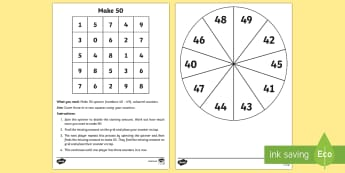 Make 50 Game - Mental Maths Warm Up + Revision - Northern Ireland, make 50, games, spinner, number bonds