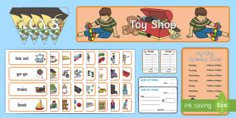 Toy Shop Role Play Pack - Toy shop Role Play, toy shop, toy shop resources, Role Play Pack - role play, Display signs, display, labels, pack toys, till, money, customer, dolls, lego, ben 10, role play, display, poster