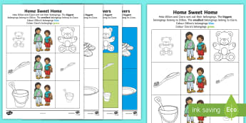 Home Sweet Home Comparing and Ordering Activity Sheet - Exploring My World, Aistear, Story, House, Comparing, ordering, Numeracy, Oral Language, Irish, work