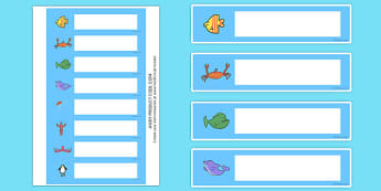 Editable Drawer - Peg - Name Labels (Commotion In The Ocean) - Story, book, resources, Giles Andreae, David Wojtowycz, Resource Labels, Name Labels, Editable Labels, Drawer Labels, story book, story resources, Coat Peg Labels