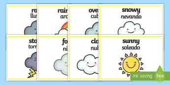 Weather Words Display Posters English/Spanish - weather and the seasons, weather posters, weather word posters, weather display posters, types of we