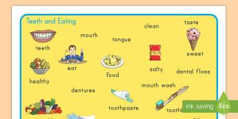 Teeth and Eating Word Mat - teeth, healthy eating, dentist, word mat, vocabulary