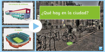 Places in Town PowerPoint Spanish - Spanish KS3, places, town, city, village, powerpoint