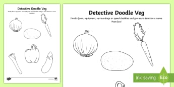 KS2 Back to School Detective Doodle Veg Activity Sheet  - Back to school, b2s, ice breaker, first day, year 6, getting to know you, class, new term, new class