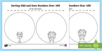 Sorting Odd and Even numbers Over  100 Activity Sheet - Mental Maths Warm Up + Revision - Northern Ireland, odd, even, sorting, venn diagram,worksheet