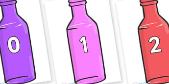 Numbers 0-100 on Bottles - 0-100, foundation stage numeracy, Number recognition, Number flashcards, counting, number frieze, Display numbers, number posters