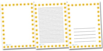 Smiley Sun Portrait Page Borders- Portrait Page Borders - Page border, border, writing template, writing aid, writing frame, a4 border, template, templates, landscape