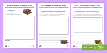 The Inventing Room Differentiated Activity Sheets - NI  Literacy, Charlie and The Chocolate Factory, Willy Wonka, Charlie and the glass elevator, chocol