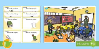 Classroom Scene Preposition Game Can You Guess? Cards  - Prepositions, Questions, Game, Cards, Preguntas Y Respuestas, Preposiciones, Inglés, Preposiciones