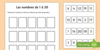 Feuille d'activités : Ordonner les nombres de 1 à 20 - ordonner les numbres de 1 à 20, ordonner, nombres, numéros, maths, activité, mathématiques, Orde