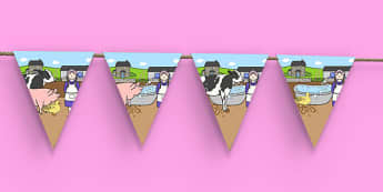 Washerwoman Display Bunting - mrs wishy washy, washerwoman, display bunting