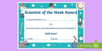 Scientist of the Week Certificate - scientist, of, the, week, award, certificate, science, a4, reward, award,