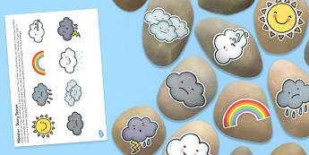 Weather Themed Story Stones Image Cut Outs - Story stones, stone art, painted rocks,  storytelling, everyday life, seasons, weather forecast
