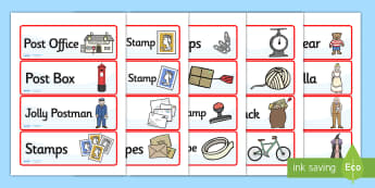 Jolly Post Office Role Play Labels to Support Teaching on The Jolly Postman - jolly, post, office, post office, role, play, role play, labels, jolly post office labels, labels for post office