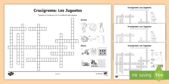 Toys Crossword-Spanish - Spanish, KS2, toys, crossword, activity, sheet, worksheet, Toys Crossword Spanish