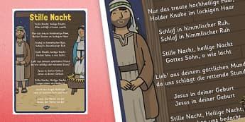 Stille Nacht Christmas Carol Lyrics Poster - german, silent night, christmas, carol, lyrics, poster, display