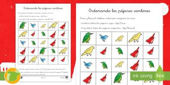 Ficha de actividad: Ordenando los pájaros cantores - Problemas, suma, sumar, adición, adicionar, matemático, matemática, matemáticas, centímetros, a