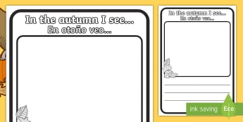 In the Autumn I See Writing Frames English/Spanish - In the Autumn I See Writing Frame - in the autumn I see, writing frame, writing aid, writing guide,